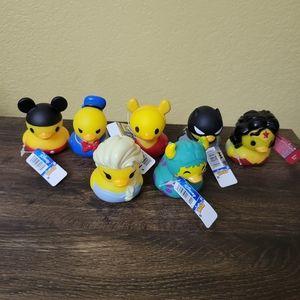 7 Disney Rubber Ducks Mickey Elsa Sully Donald Bat